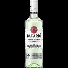 Alcool blanc à base de canne à sucre BACARDI CARTA BLANCA, 37,5°, bouteille de  70cl