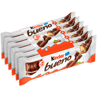 Fines gaufrettes chocolat fourrées lait noisettes KINDER Bueno, 258g
