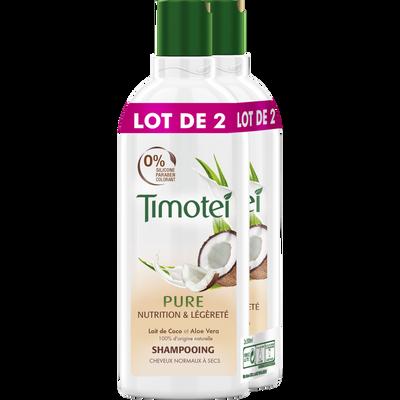 Shampooing pure nutrition et légèreté TIMOTEI 2 flacons de 300ml