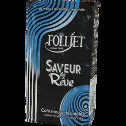 Café moulu décaféiné FOLLIET, paquet 250g