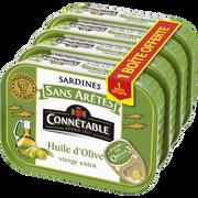 Connetable Sardine Sans Arêtes À L'huile D'olive Connetable, 3 Boîte De 140g+1 Offert Soit 560g