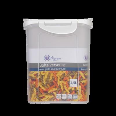 Boîte verseuse U MAISON, 1,5 litres, empilable, couvercle verseur,clips de fermeture