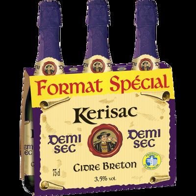 Cidre demi-sec bouché IGP breton KERISAC, 3 bouteilles de 75cl