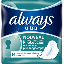 Serviettes hygiéniques ultra normal plus ALWAYS, x14