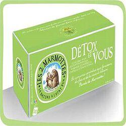 Infusion Détox et vous, LES 2 MARMOTTES, la boite de 30 sachets, 50g.