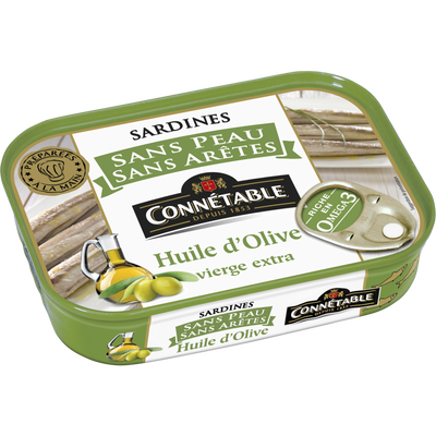 Sardines sans peau & sans arête huile d'olive vierge extra CONNETABLE,boîte de 140g