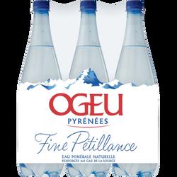 Eau minérale naturelle pétillante OGEU, 6 bouteilles de 1l