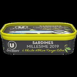 Sardines millésimées à l'huile d'olive vierge extra Saveurs U, 115g