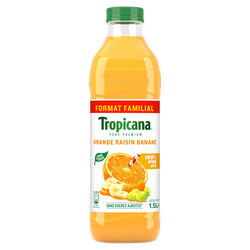 Jus d'orange raisin banane Pure Prémium TROPICANA, 1,5l