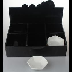 Coupelle en porcelaine blanc forme hexagone