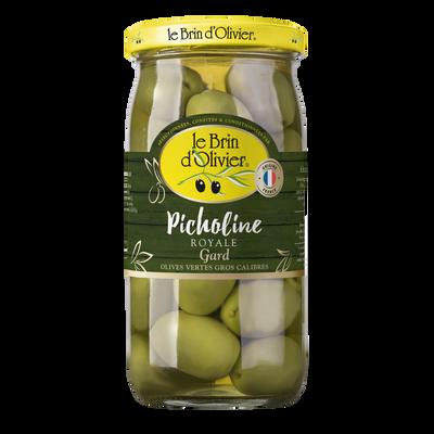 Olives vertes picholine du Gard royale BRIN D'OLIVIER, bocal de 200g