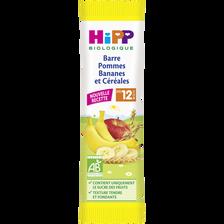 Barres pommes/bananes & céréales bio HIPP, dès 12 mois, sachet de 25g