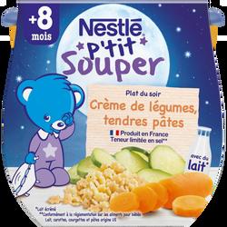 P'tit souper crème de légumes et tendres pâtes 12 mois, NESTLE, 2x200g