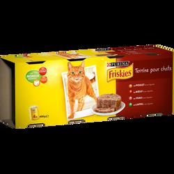 Aliment pour chat adulte terrinnes Vital Heart au poulet,veau,boeuf,lapin et légumes FRISKIES, 4x400g