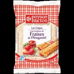 Crêpes fourrées à la confiture de fraises de Plougastel PAYSAN BRETON,x6 soit 180g