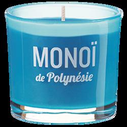 Verre coloré/sérigraphié rempli de bougie parfumée monoï de PolynésieDEVINEAU