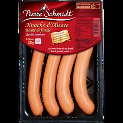 Knacks d'Alsace boyau naturel qualité supérieur PIERRE SCHMIDT, x4 220g