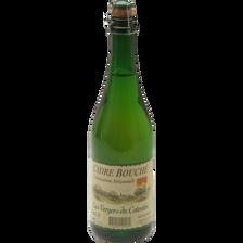 Cidre bouché brut VERGERS DU COTENTIN, 4,5°, bouteille de 75cl