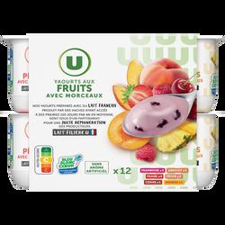 Yaourt aux morceaux de fruits panachés U, 12x125g