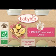 Pot pomme coing BABYBIO, dès 4 mois, 2x130g
