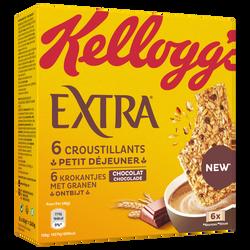 Barre EXTRA croustillant petit déjeuner chocolat KELLOGG'S, 6x40g