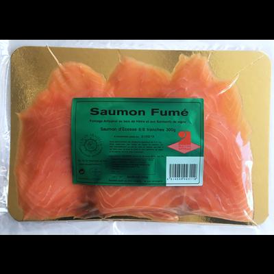 Saumon fumé d'Ecosse CLAUDE TRAITEUR, 6/8 tranches soit 300g