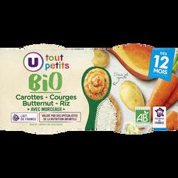 Bols carottes butternut riz Tout Petits Bio U, dès 12mois, 2x200g