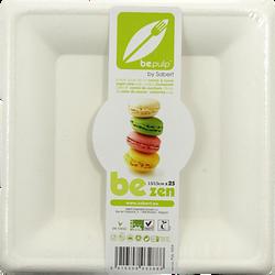 Assiettes carrées ZEN BE PULP, biodégradable et compostable, blanc, 25unités