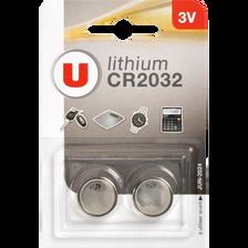Piles lithium U CR2032, 2 unités