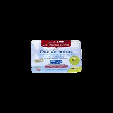 Foie de morue MSC finement fumé au bois de hêtre, au citron Bio LES MOUETTES D'ARVOR, 120g