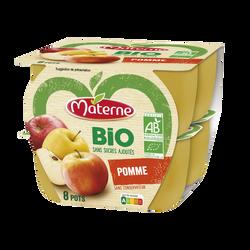 Compote sans sucre ajouté pomme bio MATERNE, 8x100g
