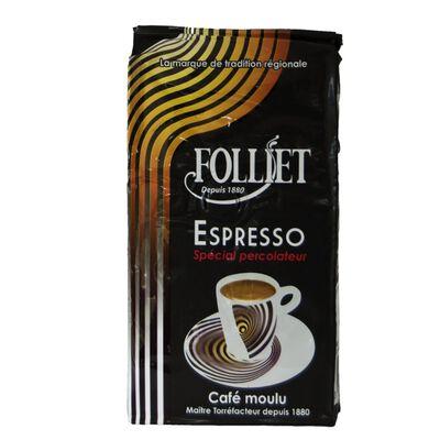 Café moulu pour expresso spécial perco FOLLIET, paquet 250g