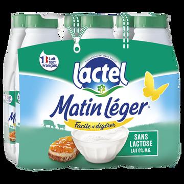 Lactel Lait Uht Teneur Réduite Lactose Écrémé Matin Leger, Bouteille 6x1 Litre
