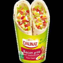 Sandwich be wrappy bacon grillé, oeufs, tomates marinées et sauce yaourt DAUNAT, 190g