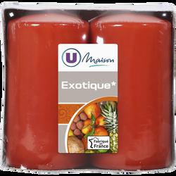 Bougies U MAISON, parfumées exotique, 48x90mm, orange, 2 unités