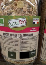 MUESLI FRUIT TRADITIONNEL BIO
