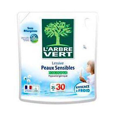 Lessive liquide hypoallergénique pour peaux sensibles L'ARBRE VERT, 30 doses, re