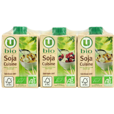 Soja cuisine Bio U, 3x20cl