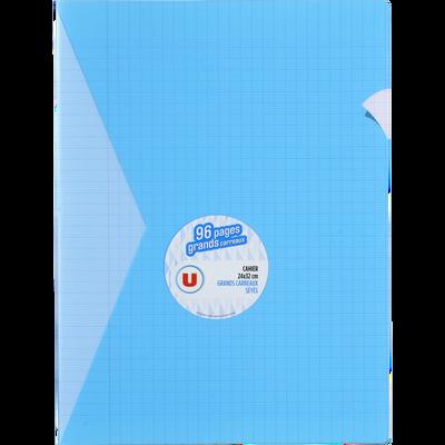 Grand cahier piqure U, grands carreaux, 24x32cm, 96 pages, bleu