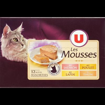 Mousse pour chat au saumon, poulet, lapin et thon U,  12 boîtes de 85g