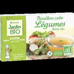 Bouillon cube légumes sans sel ajouté & sans gluten JARDIN BIO, boite de 8x9g