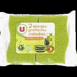 Éponges grattantes végétales colorées pour toutes les surfaces U, x2