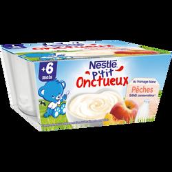 Dessert infantile au fromage blanc et pêche P'tit Onctueux NESTLE, dès6 mois, 4x100g