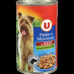 Patée+morceaux pour chien boeuf/carottes U 3/2 1,240kg
