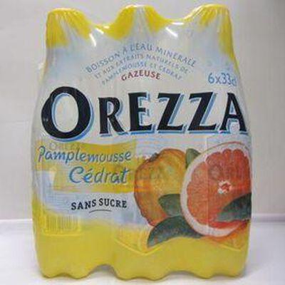 Eau minérale gazeuse aux extraits naturels de pamplemousse et cédrat sans sucre OREZZA, 6x33cl