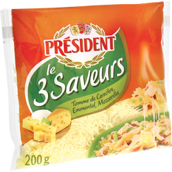 Le 3 fromages râpés au lait pasteurisé PRESIDENT, 28%mg, 200g