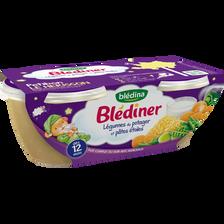 Bols pour bébé légumes du potager et pâtes étoiles BLEDINER, dès 12 mois, 2x200g
