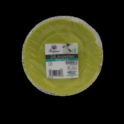 Assiette en carton U MAISON diamètre 18cm x24 turquoise