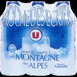 Eau de source des montagnes des Alpes U, bouteille en plastique 6x50cl