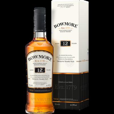 Scotch whisky single malt BOWMORE 12 ans d'âge, 40°, bouteille de 70cl